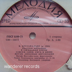 MUSTAFA-ZADEH,Vagif - 12277 Jazz Compositions